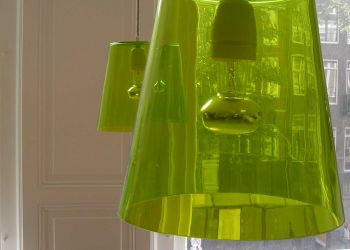 hanging green glass lamps by B3KM EcoDesign