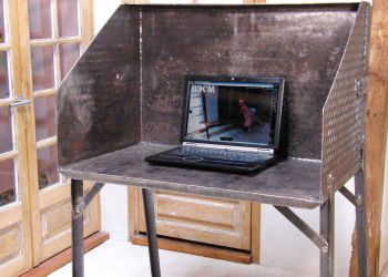 desk from reclaimed tractor bucket by B3KM EcoDesign