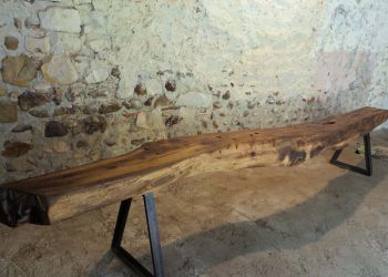Bench from antique chessnut floorbeam and iron by B3KM EcoDesign